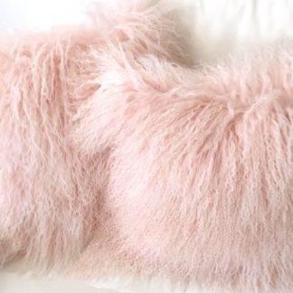 Kissen Tibet Lammfell puder rosa mongolisches Schaffell Kissen echt Fell Puder rosa super weich 35 cm Dekokissen Puder rosa