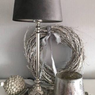 Tischlampe Lampenfuß silber Lampenschirm zinc Graphite dunkel grau samt Light and Living Lampenfuß Nico