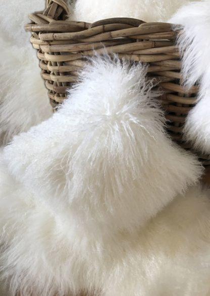 Kissen Tibet Lammfell weiss echt Fell mongolisches Schaffell Langhaar weiß super weich echt Fell 40cm 30 cm 50 cm 60 cm