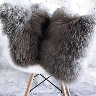 Kissen Tibet Lammfell, echt Fell, Schaffell mongolisches Lammfell, stone grau silber grau beige